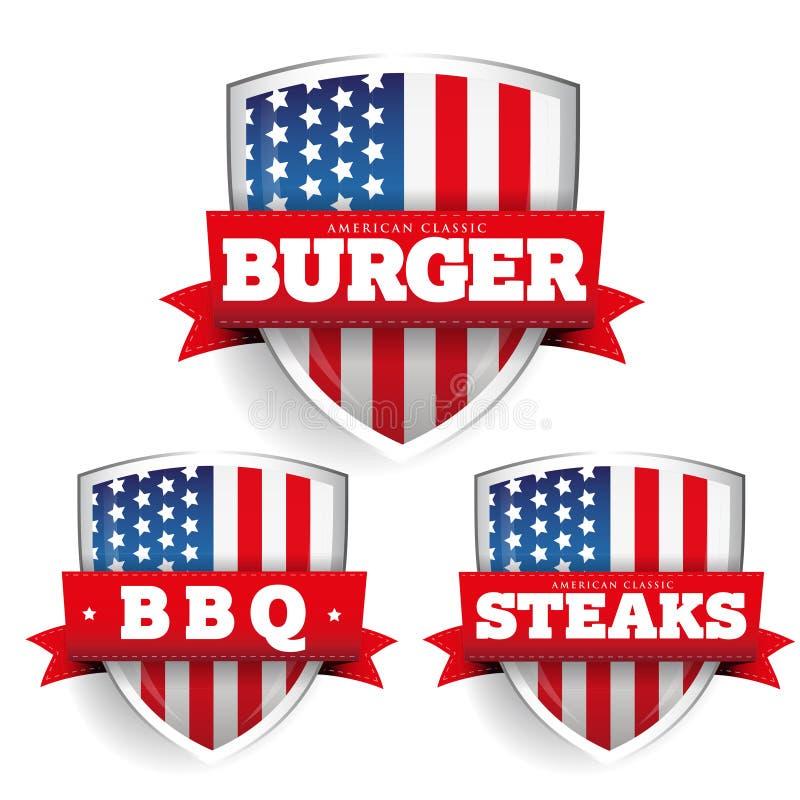 汉堡,牛排, Bbq有美国旗子的葡萄酒盾 皇族释放例证