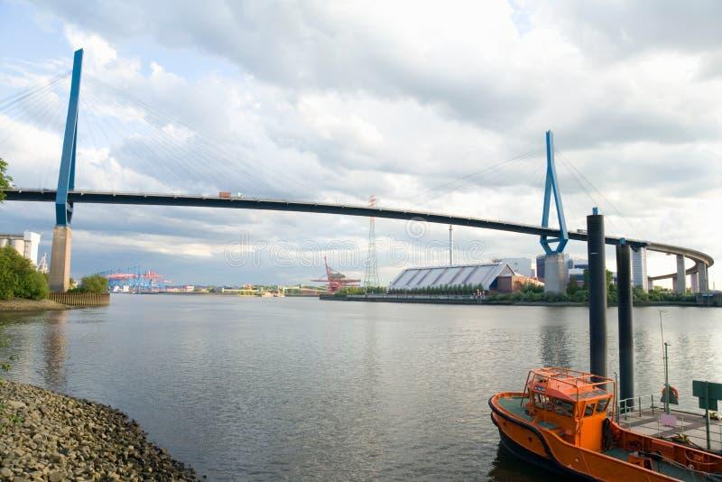 汉堡, Koehlbrand桥梁看法  库存照片
