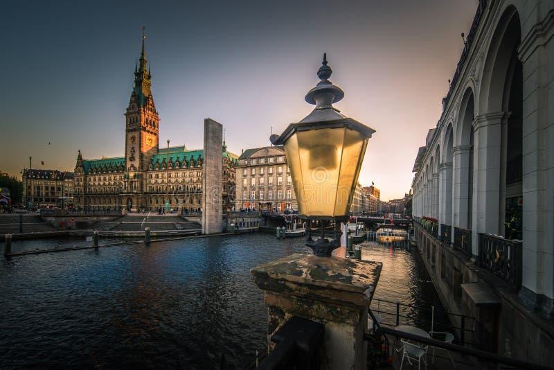 汉堡Rathaus市政厅全景 免版税图库摄影