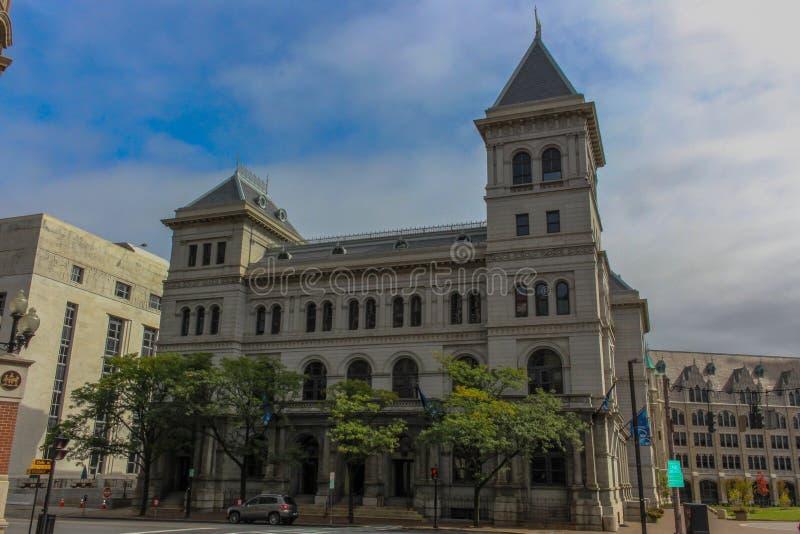 汉普顿广场一个历史大厦在阿尔巴尼 库存图片