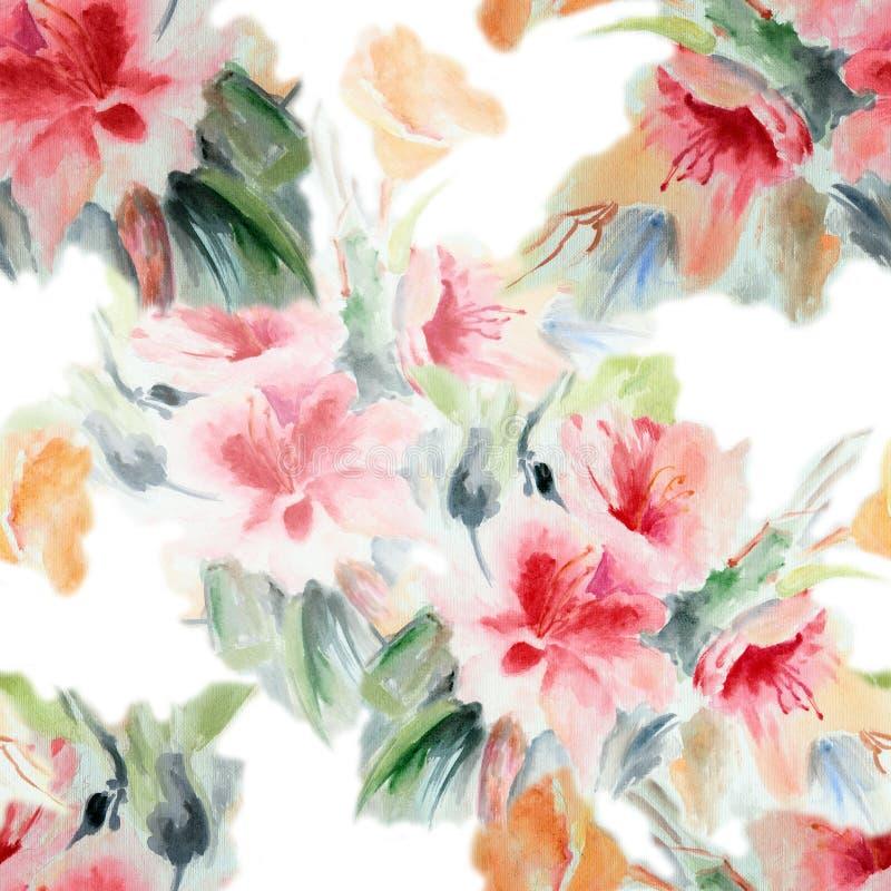 汉语上升了,开花,花束,水彩,仿造无缝 向量例证