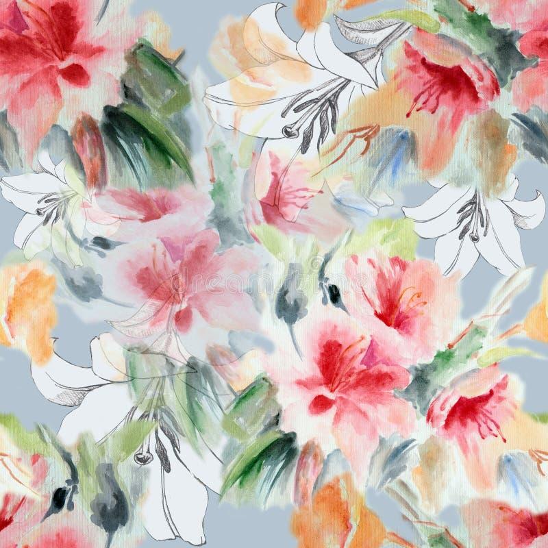 汉语上升了,百合,花,花束,水彩,仿造无缝 皇族释放例证