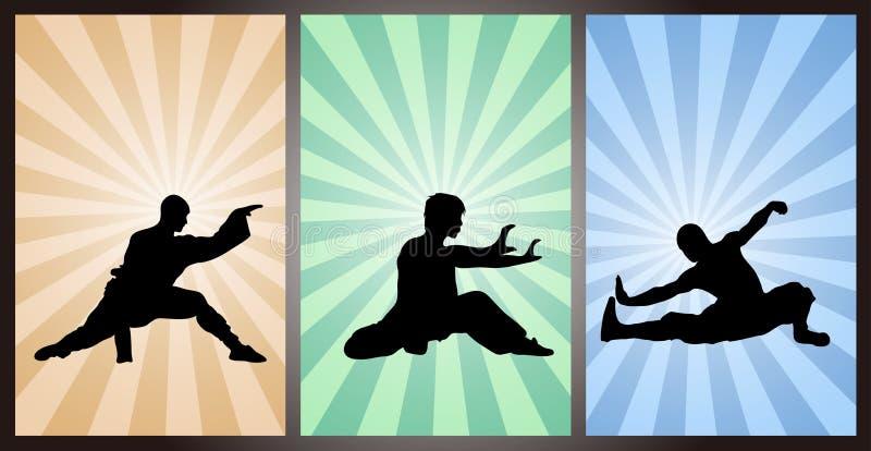 汉语功夫,Wushu,武道,中国拳击 向量例证