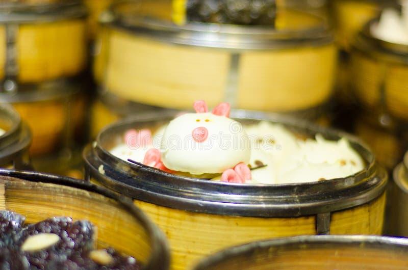 汉语蒸的小圆面包,猪baozi 库存照片