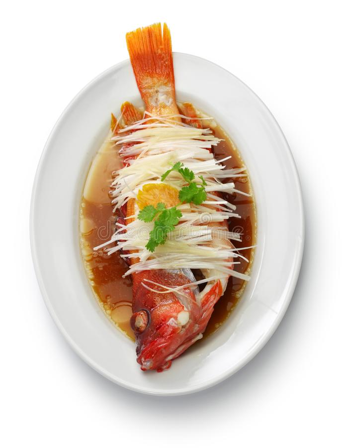汉语被蒸的红色石斑鱼 免版税库存照片