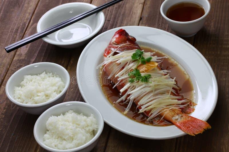 汉语被蒸的红色石斑鱼 免版税库存图片