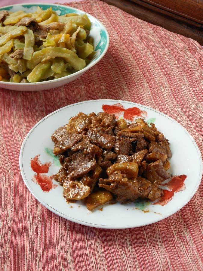 汉语设宴用姜牛肉 免版税库存照片