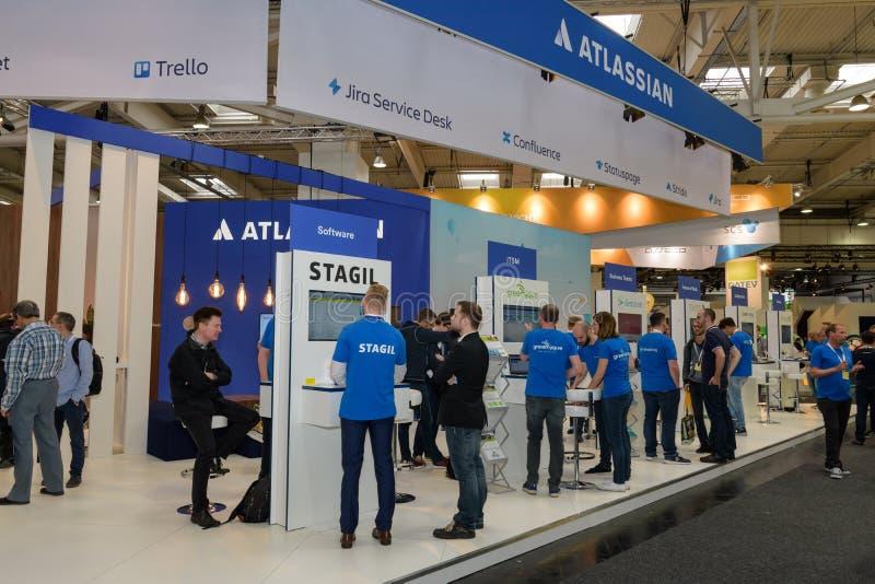 汉诺威,德国- 2018年6月13日:公司Atlassian摊  库存图片