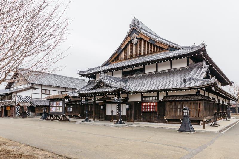 江户时代与叶子的建筑学样式较少树在北海道的,日本Noboribetsu日期JIdaimura历史的村庄 免版税图库摄影