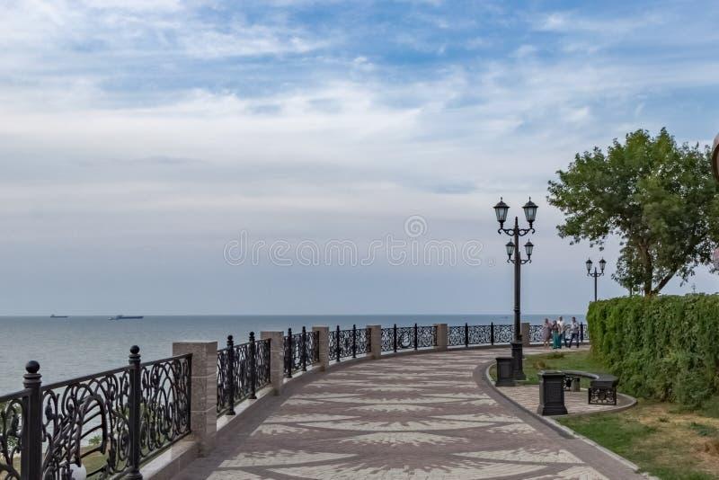 江边在Eisk镇在亚速号海的 免版税图库摄影