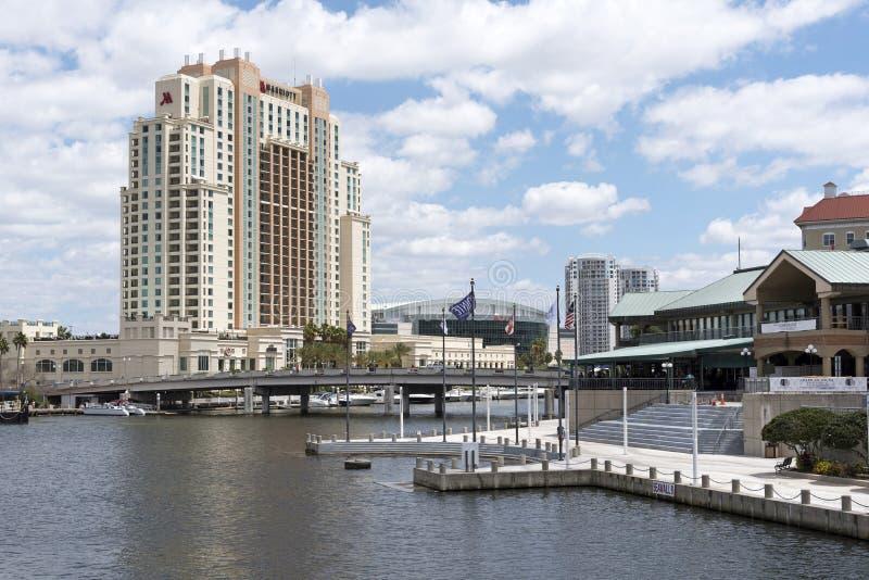 江边的街市坦帕Fl美国大旅馆 免版税库存照片