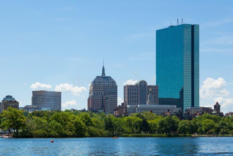 从江边,马萨诸塞,美国的波士顿地平线 图库摄影