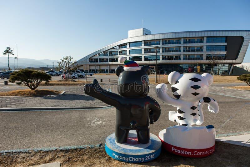江陵市,韩国- 2017年1月:在平昌郡图冬奥会的吉祥人2018年 免版税库存图片