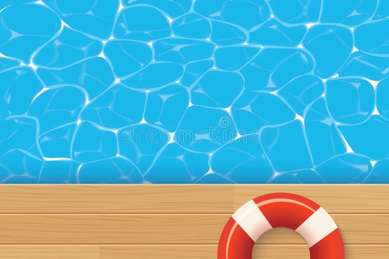 水池圆环和游泳池 夏天背景 库存例证