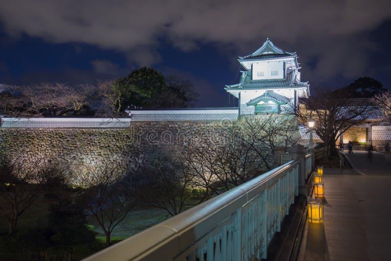 今池城堡在晚上在今池,日本 免版税库存图片