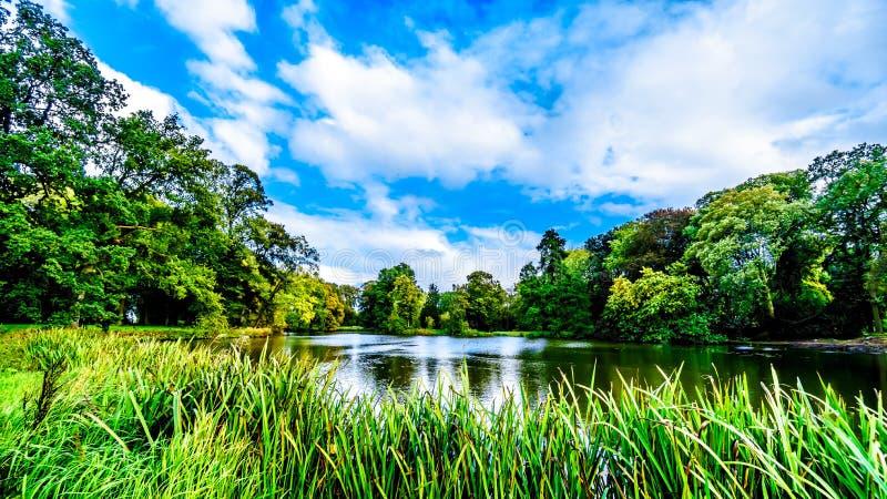池塘和湖在围拢城堡德哈尔的公园 库存图片