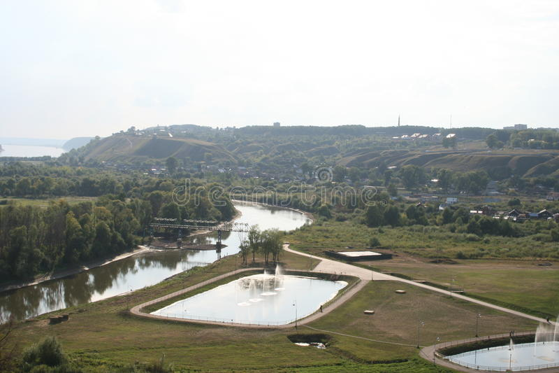 池塘在市Elabuga 免版税图库摄影
