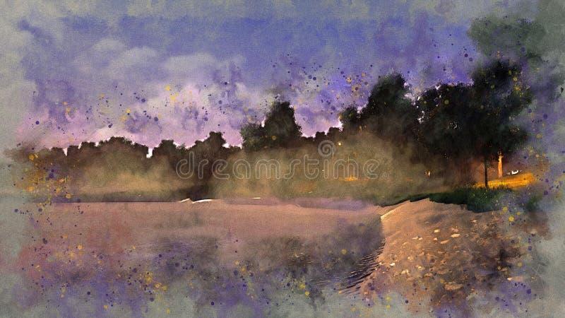 池塘在有薄雾的黄昏水彩剪影的一个公园 向量例证