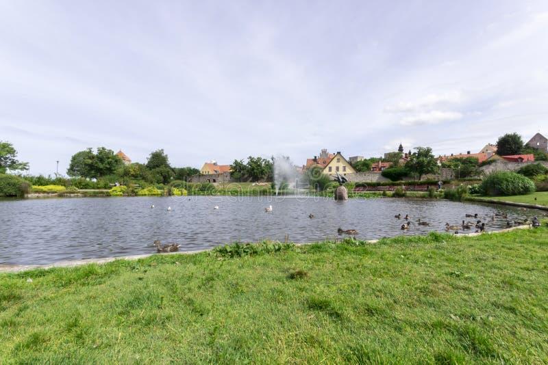 池塘在Almedalen,维斯比,瑞典 库存照片