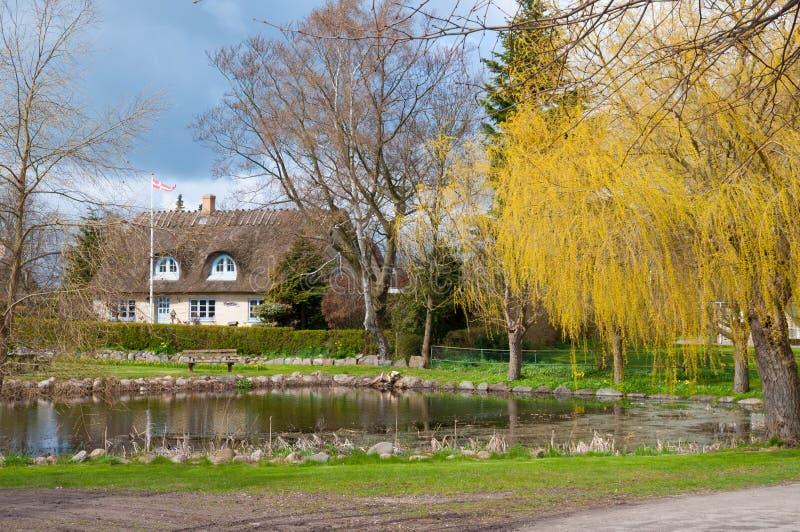 池塘在Gedesby村庄在丹麦 免版税图库摄影