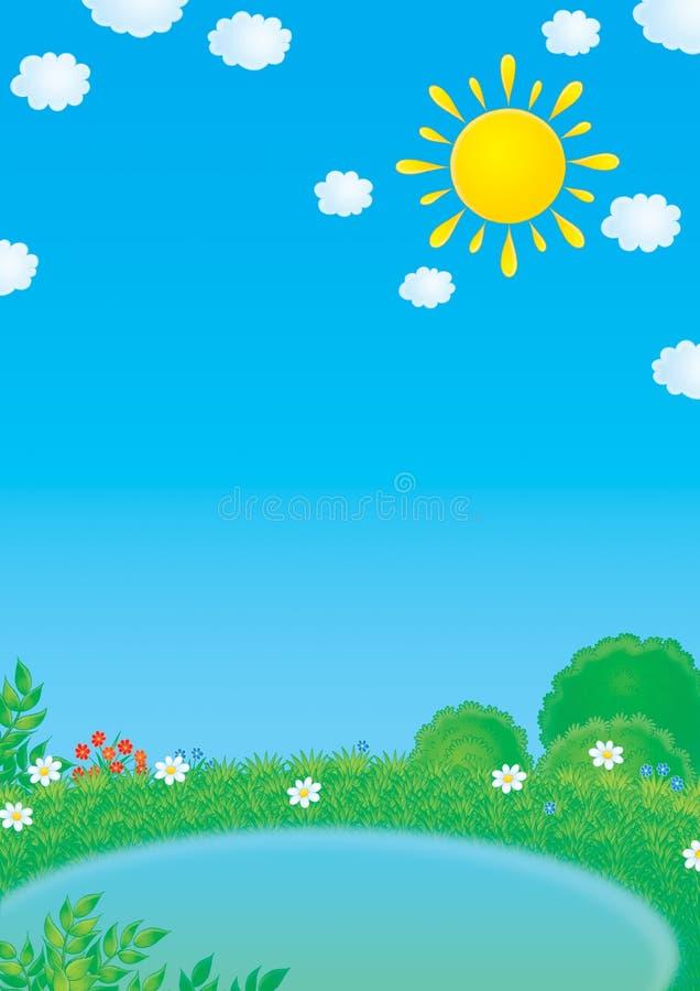 池塘小的夏天 向量例证