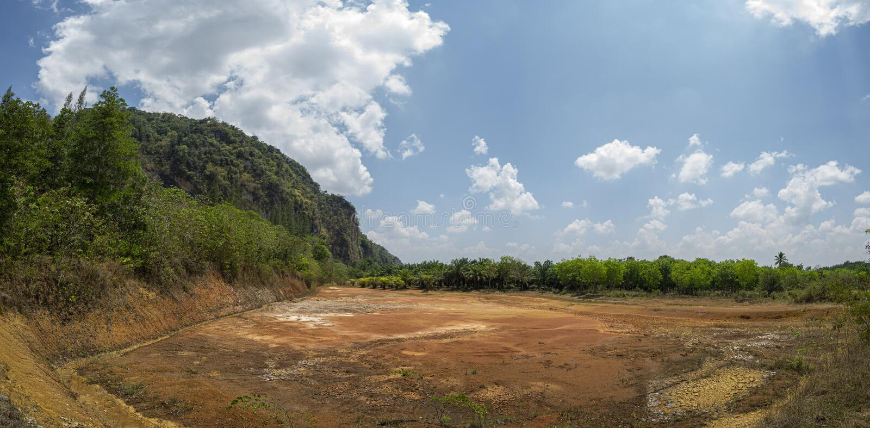 池塘是干燥的,直到您看地面 在旱季期间 免版税库存照片