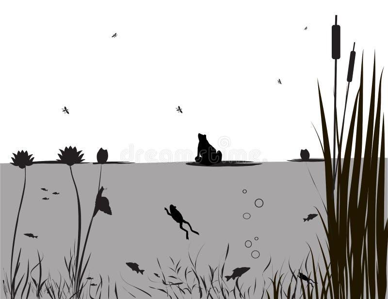 池塘生活 库存例证