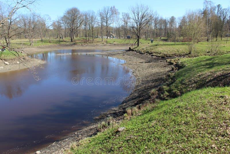 池塘的看法在有污水的一个公园与工业废料在普希金  免版税库存图片