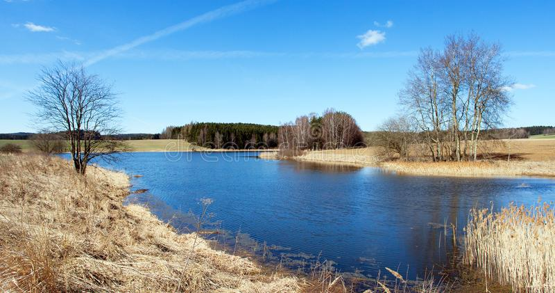 池塘,捷克人和Moravian高地秋季看法  免版税图库摄影