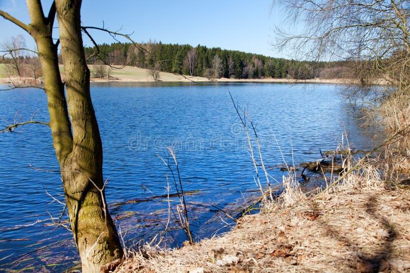 池塘,捷克人和Moravian高地秋季看法  免版税库存图片