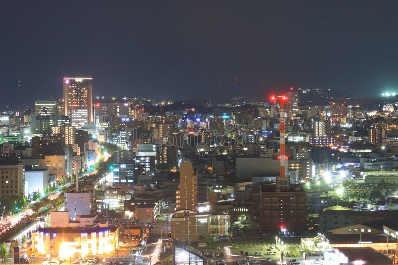 今池夜都市风景视图在今池日本 免版税库存图片