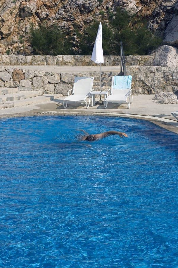 池游泳者 库存图片