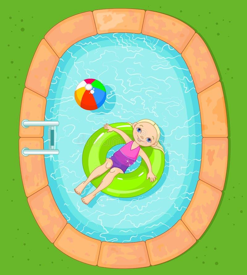 水池的女孩 向量例证