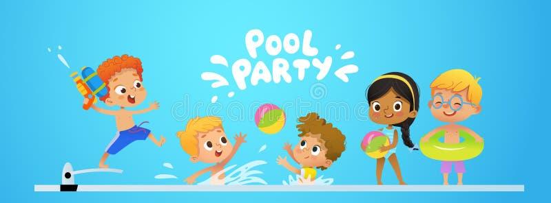 池边聚会邀请模板baner 多种族孩子获得乐趣在水池 有跳跃玩具的水枪的红头发人男孩  皇族释放例证