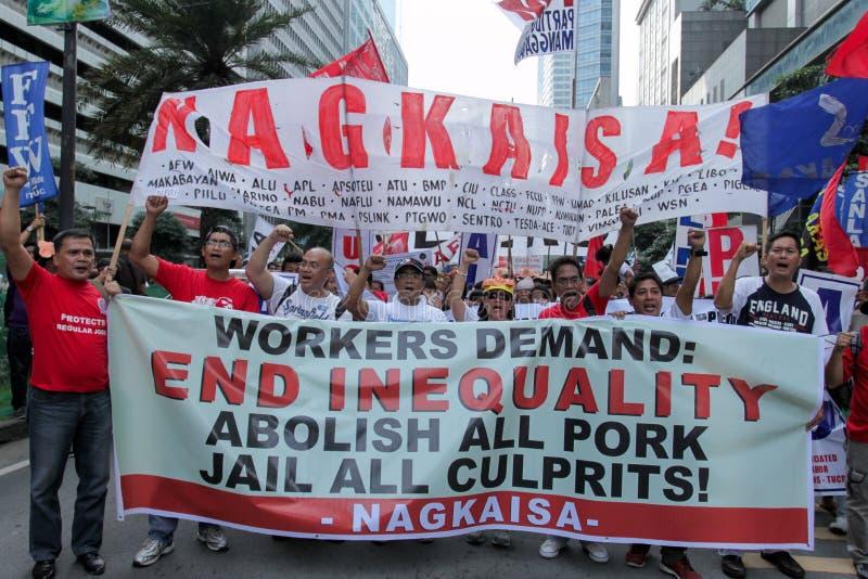 贪污和腐败在马尼拉,菲律宾抗议 免版税库存图片