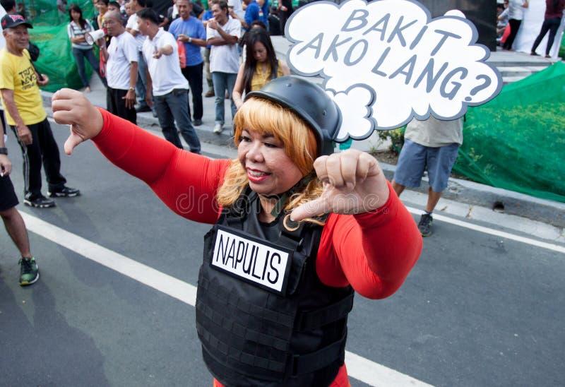 贪污和腐败在马尼拉,菲律宾抗议 免版税库存照片