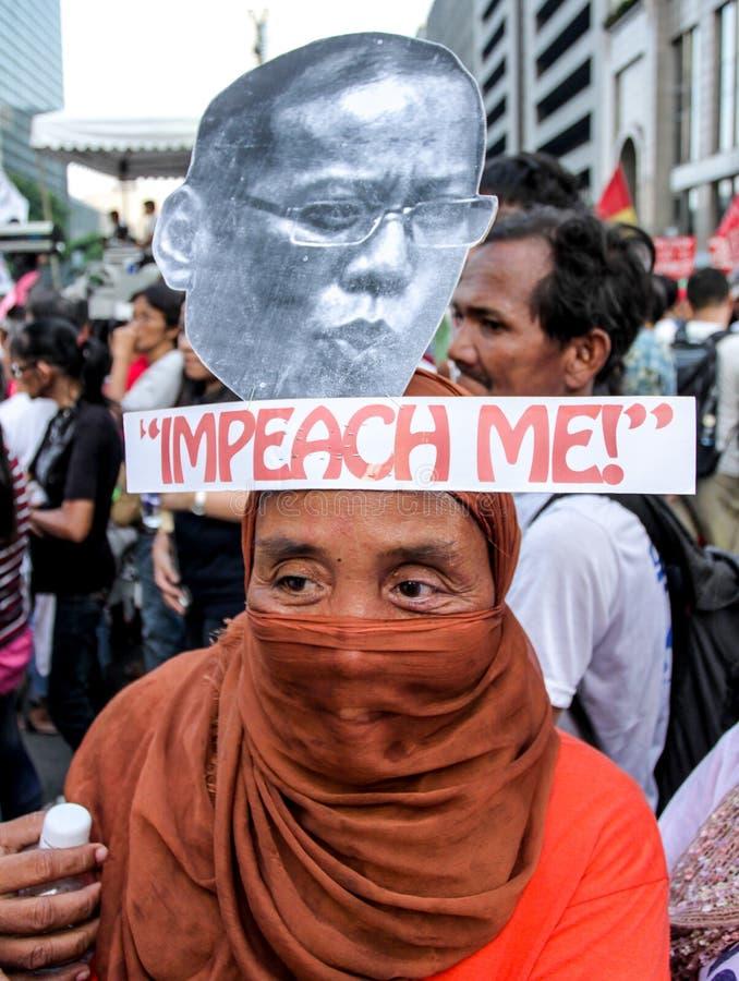 贪污和腐败在马尼拉,菲律宾抗议 图库摄影