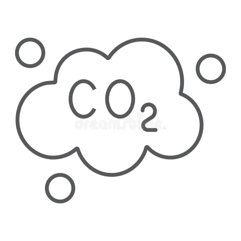 污染二氧化碳稀薄的线象,生态和二氧化物,二氧化碳排放覆盖标志,向量图形,在a的一个线性样式 库存例证