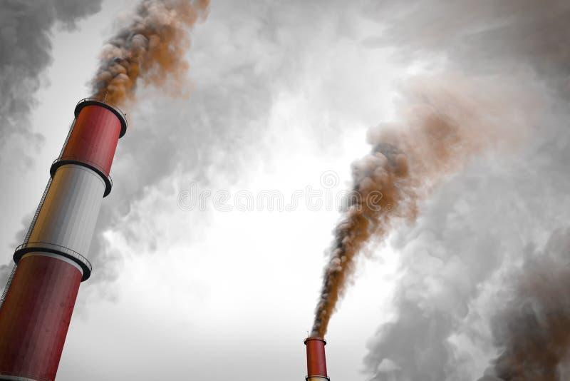 污染创造性的概念,在白色背景隔绝的黑暗的抽烟的工厂管子-工业3D例证 向量例证