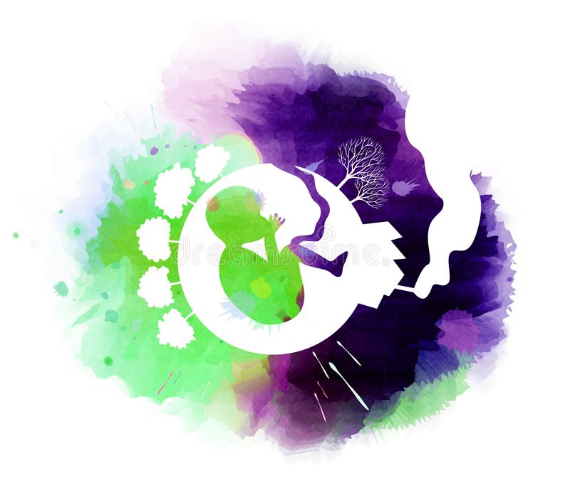 污染和保存与婴孩的地球概念在剪影里面 库存例证