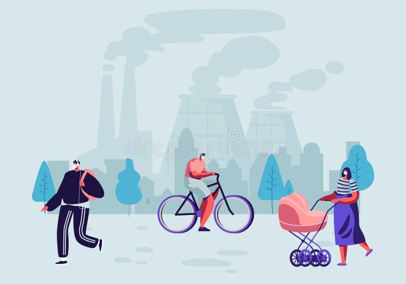 污染物排气 防护面膜的人住在被污染的城市走在街道上的反对工厂管子烟雾 皇族释放例证
