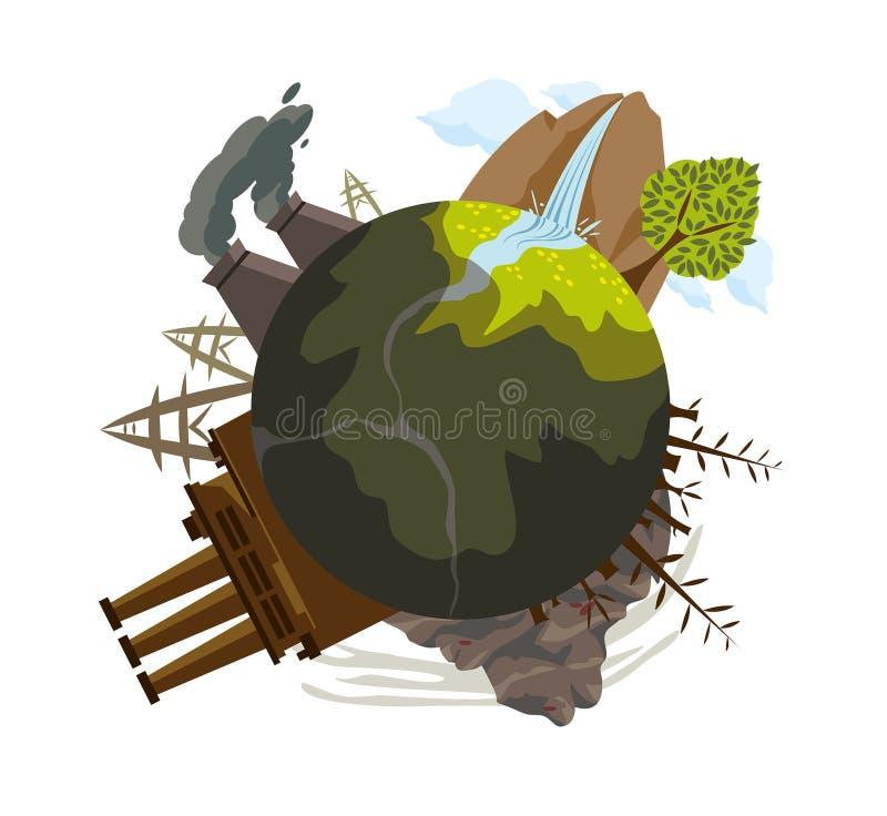 污染的全球性问题在行星的。 皇族释放例证