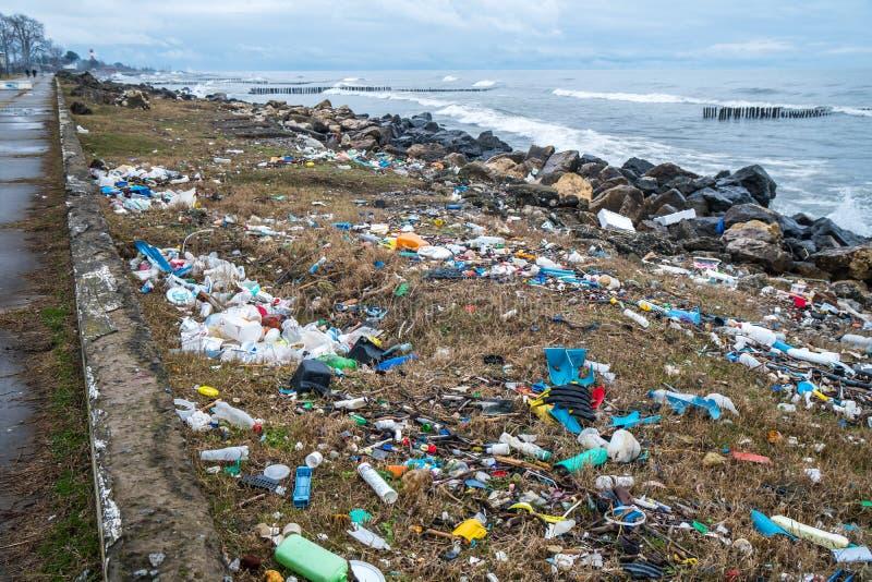 污染的海岸和oc的问题和生态 免版税库存图片