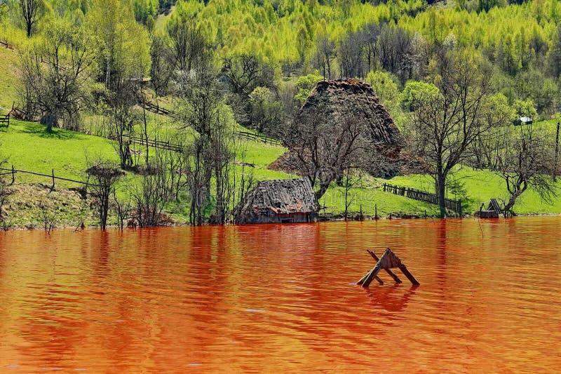 污染的湖水在罗希亚蒙塔讷