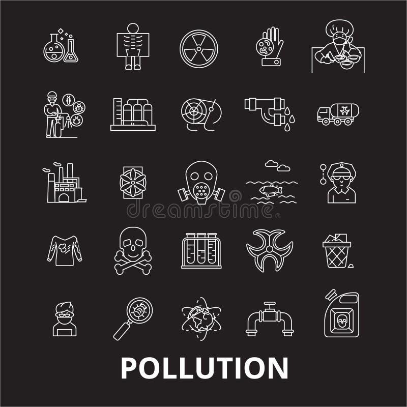 污染编辑可能的线象导航在黑背景的集合 污染白色概述例证,标志,标志 皇族释放例证