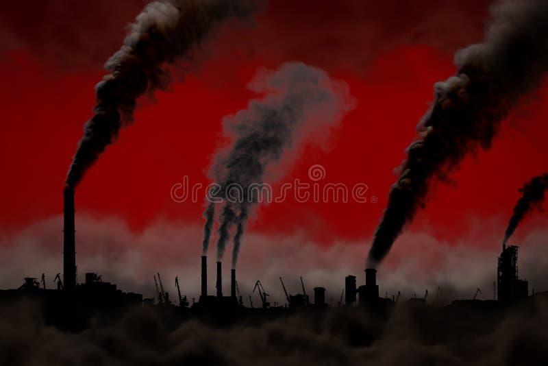 污染设计观念,在红色背景隔绝的重的抽烟的工厂烟囱-工业3D例证 皇族释放例证