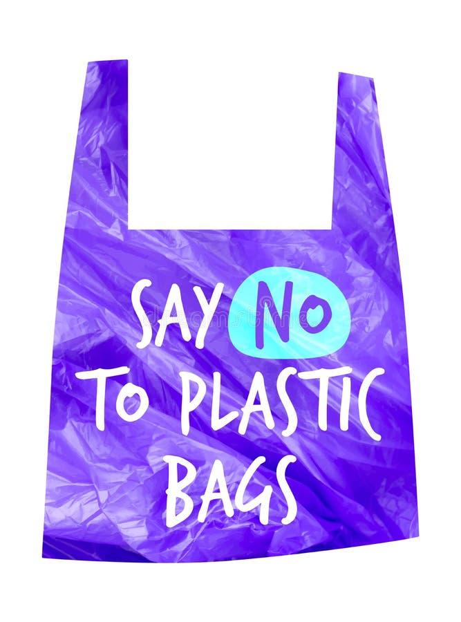 污染问题传染媒介概念 对塑料袋说不 玻璃纸小包的动画片图象与标志的呼吁中止使用 库存例证