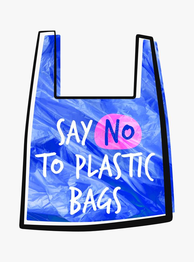 污染问题传染媒介概念 对塑料袋说不 玻璃纸小包的动画片图象与标志的呼吁中止使用 向量例证