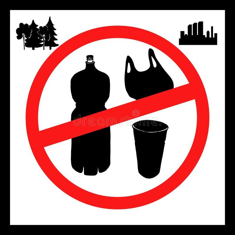 污染问题的概念 对塑料袋,瓶,玻璃说不 图片是叫的海报停止 向量例证