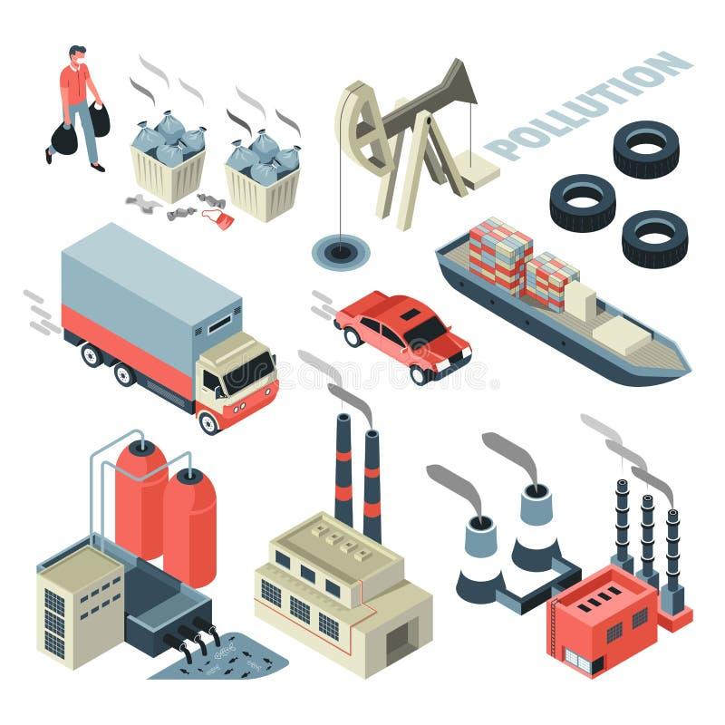 污染问题运输和工厂垃圾传染媒介 库存例证